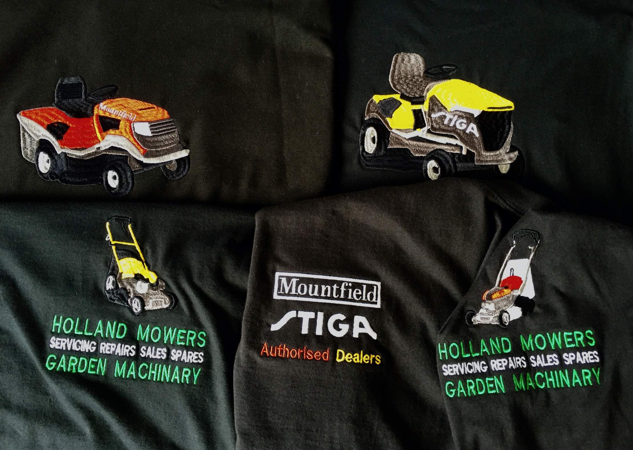 holland mowers lawnmower custom embroidery & digitizing service logo embroidered clothing uniform & workwear clacton essex uk