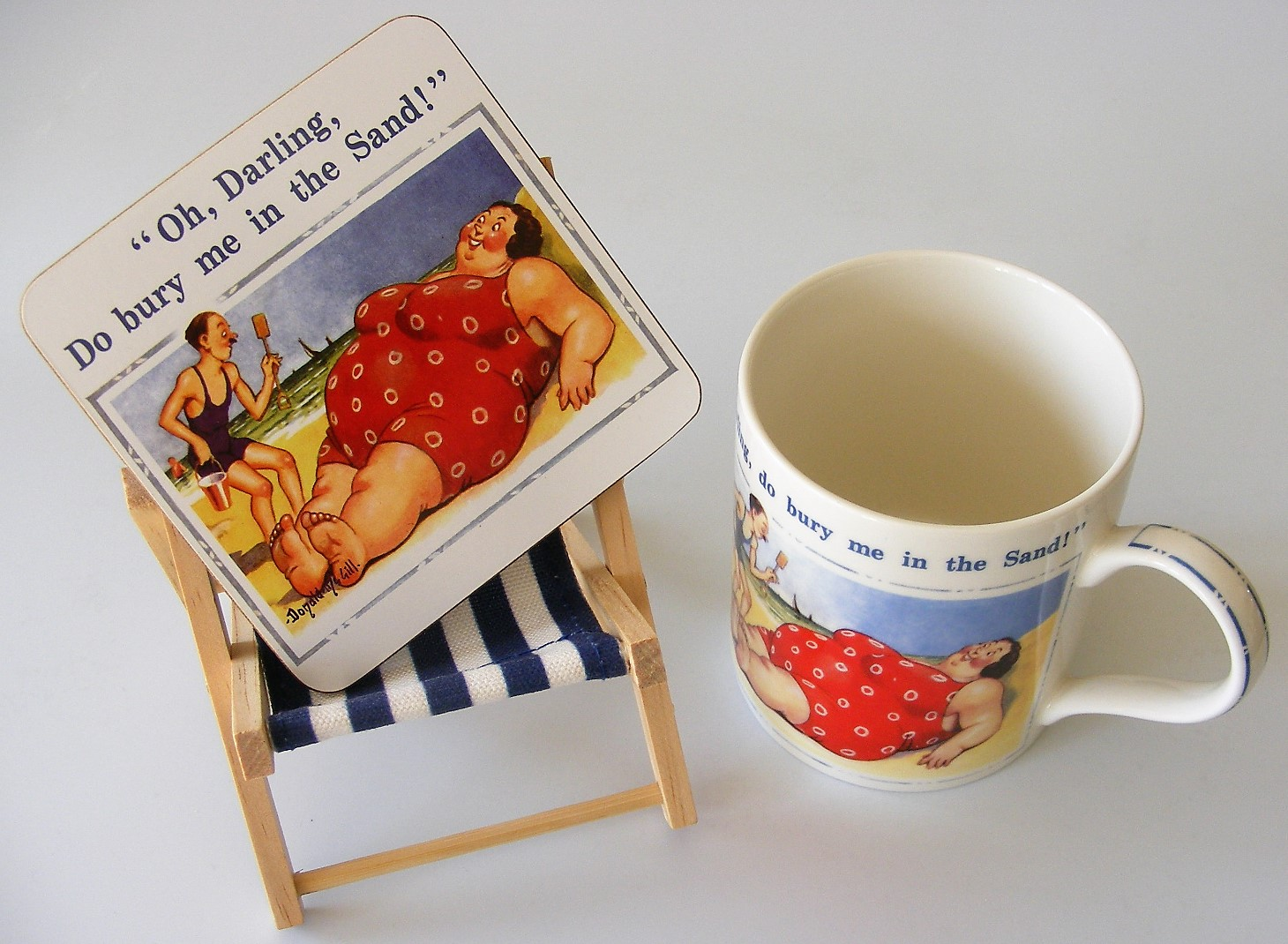 """Oh, darling do bury me in the sand"" - McGill Saucy Postcard China Mug and Coaster"