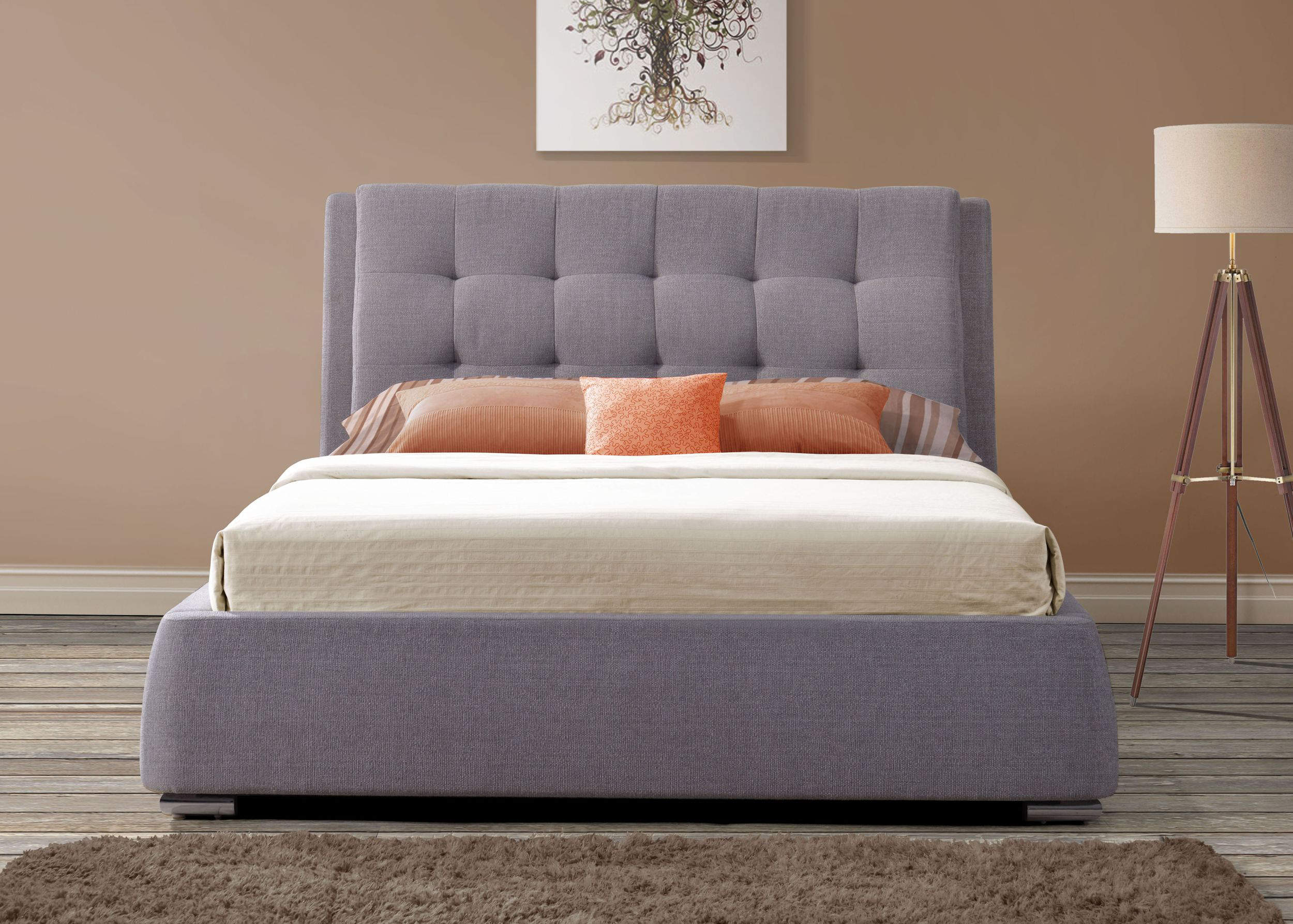 MAYFAIR GREY FABRIC 4 DRAWER SUPER KING BED
