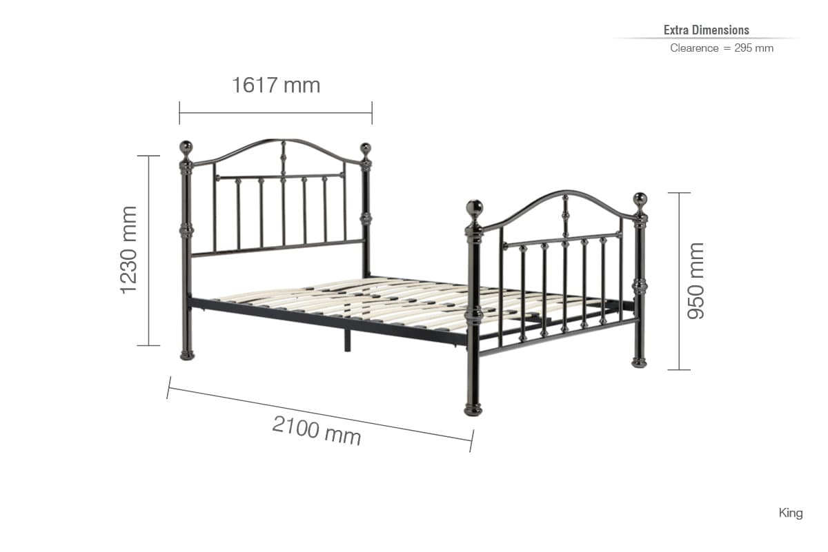 BIRLEA VICTORIA BLACK NICKEL METAL BED - KING