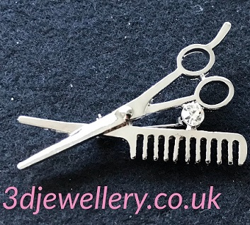 Small silver brooches - scissors and comb brooch 50 mm x 30 mm