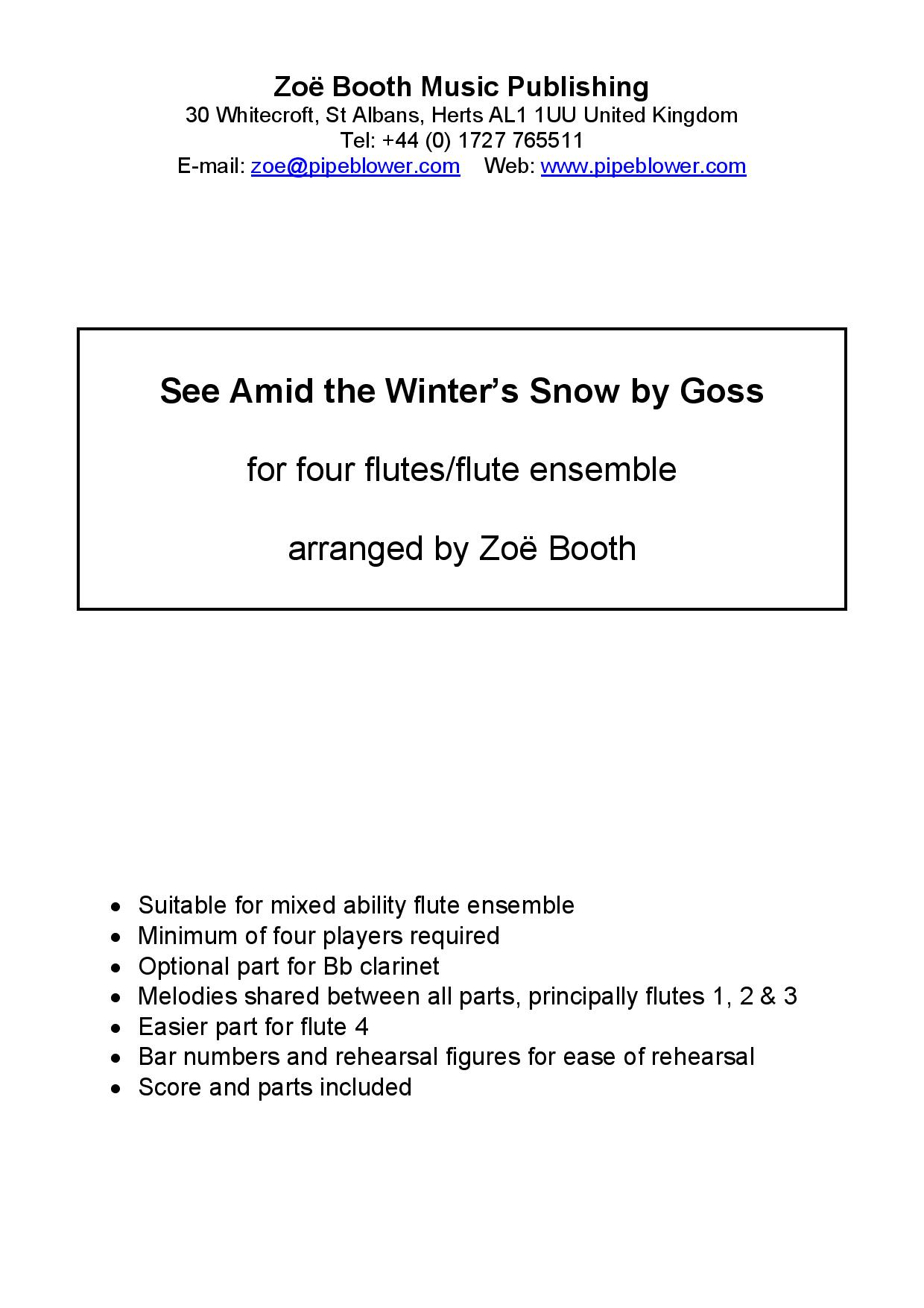 See Amid the Winter's Snow by John Goss,  arranged by Zoë Booth for four or more flutes/flute choir