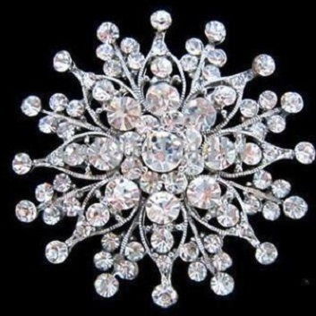 Large diamante brooches - snowflake silver brooch  60 mm