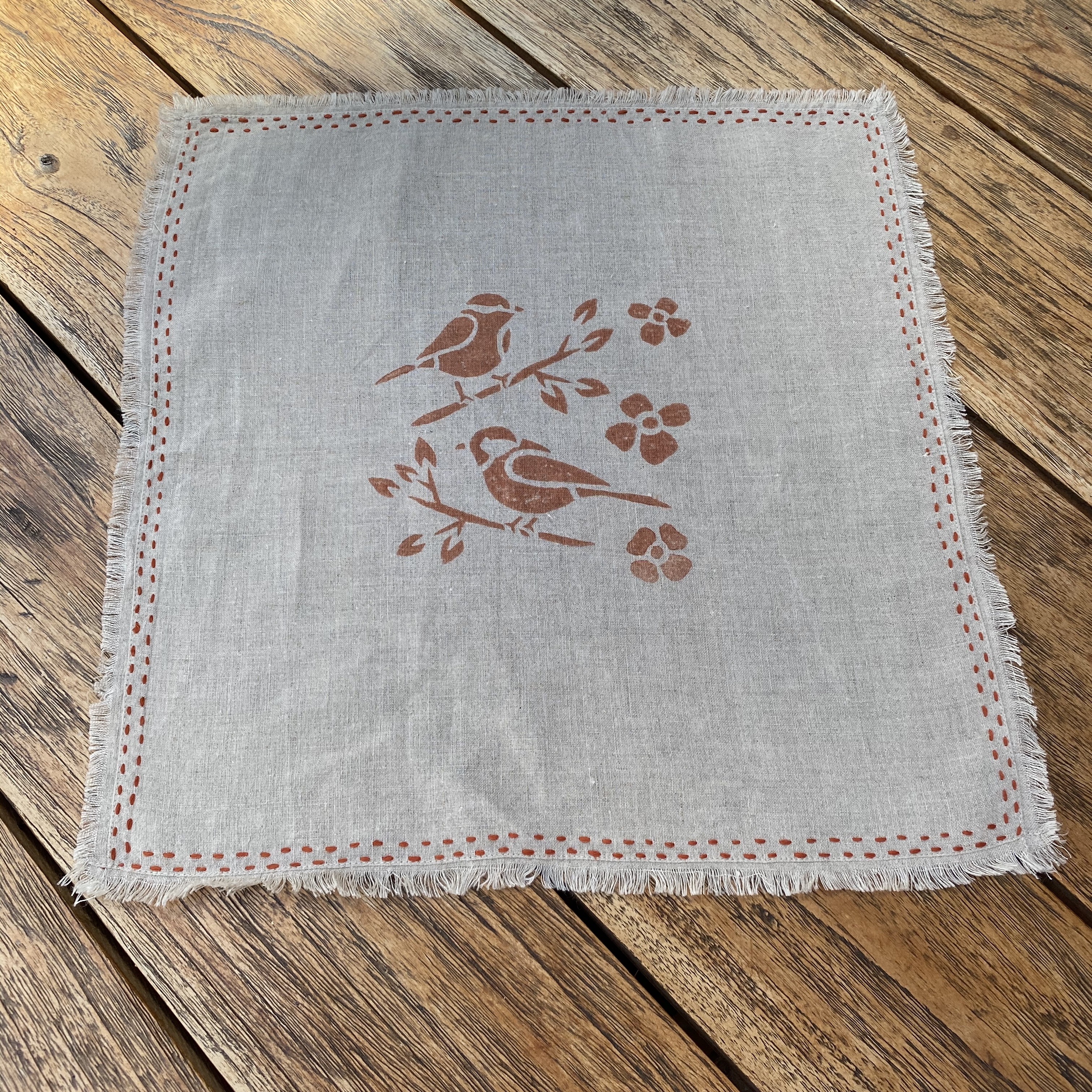 Set of 6 Hand Block Printed Napkins in Burnt Orange