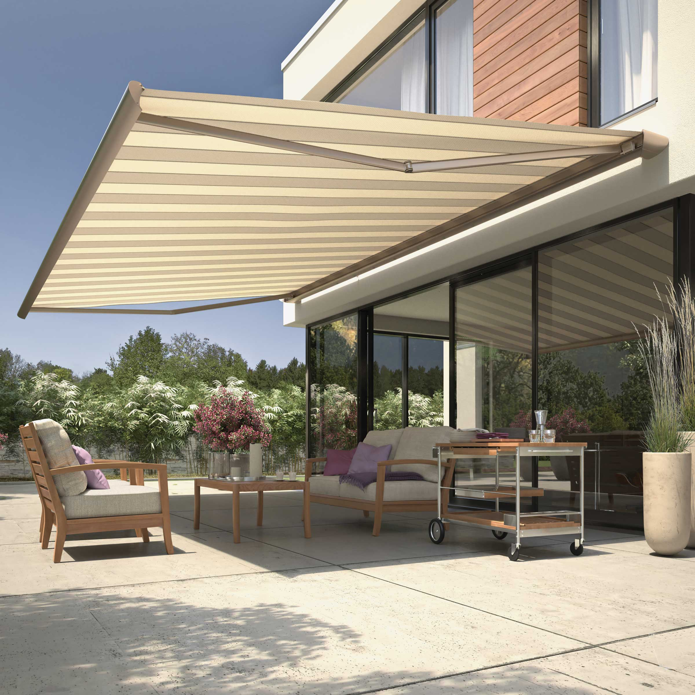 A high quality awning covering a sunny patio area