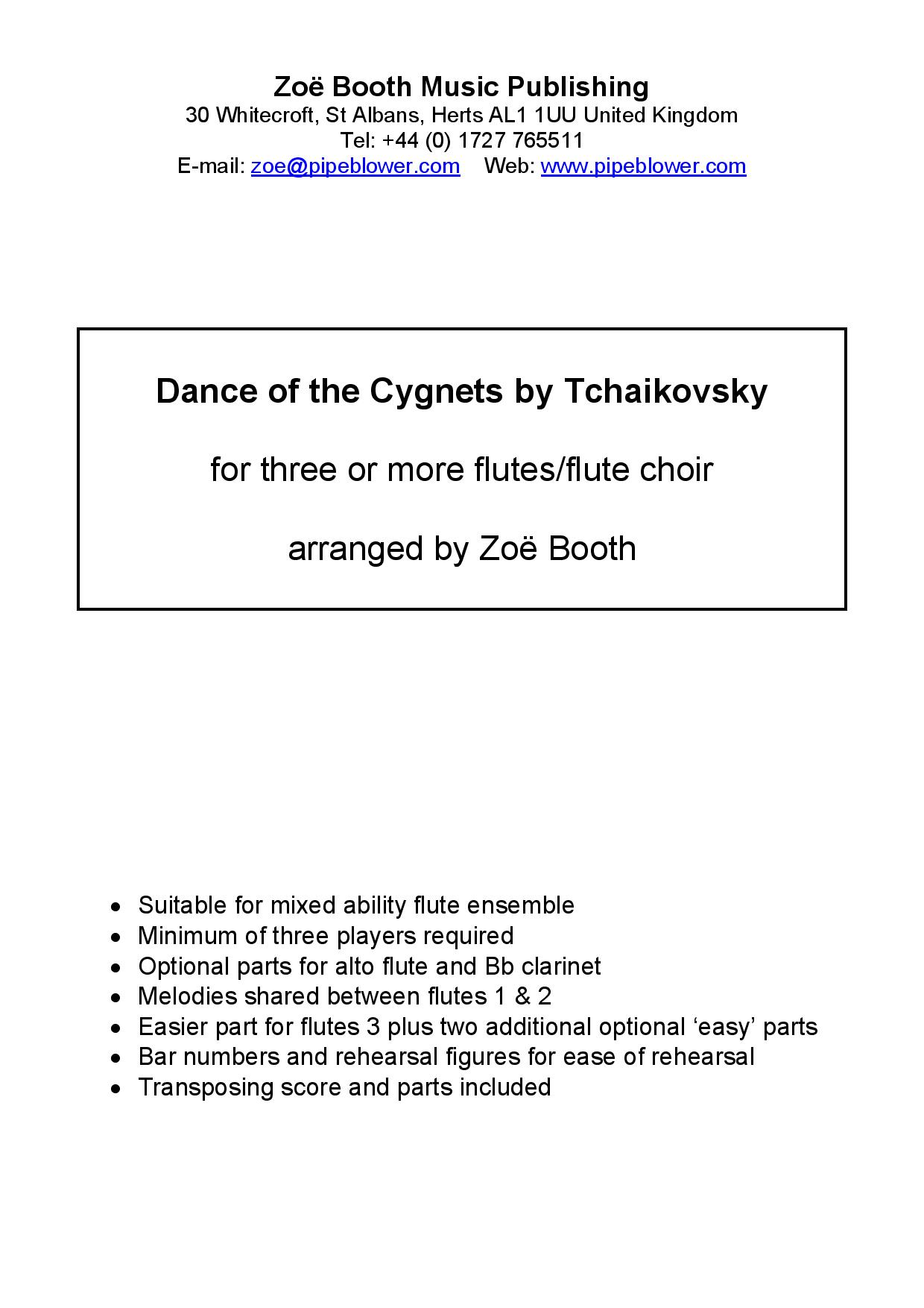 Dance of the Cygnets by Tchaikovsky,  arranged by Zoë Booth or three or more flutes/flute choir