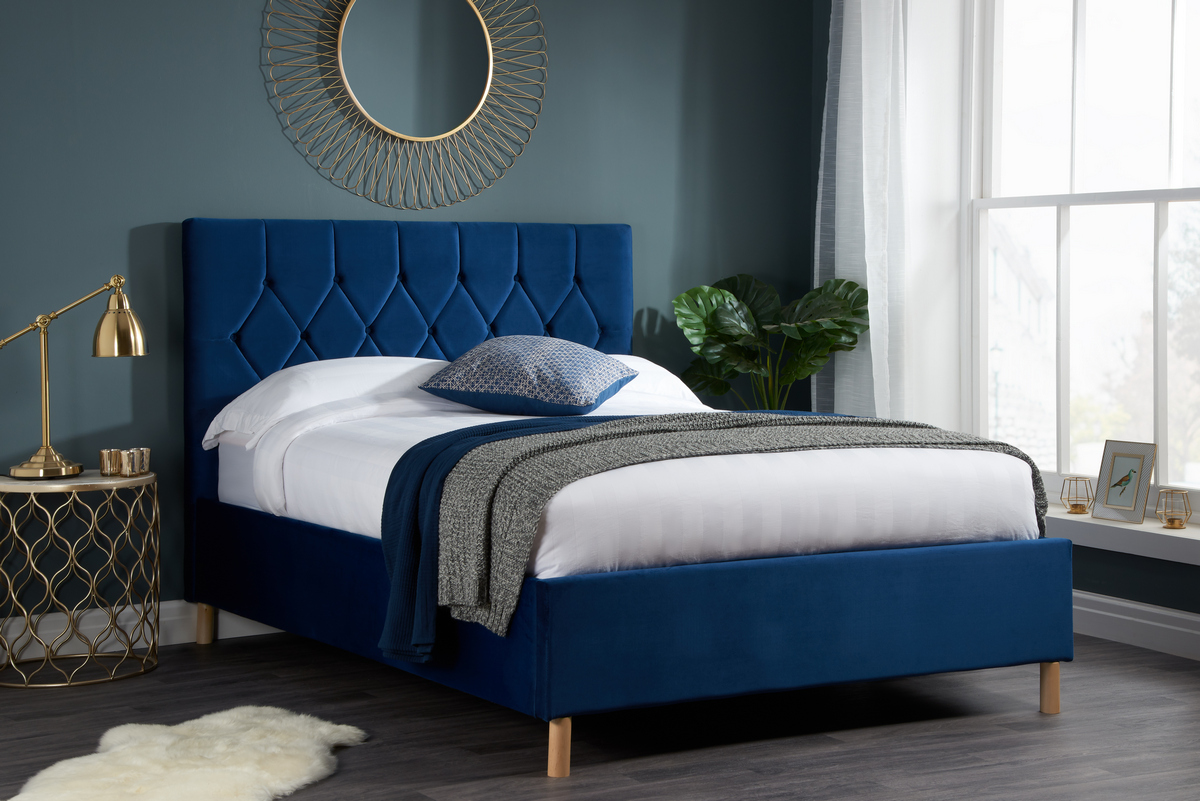 Loxley Double 4.6FT Ottoman Fabric Bed - Blue