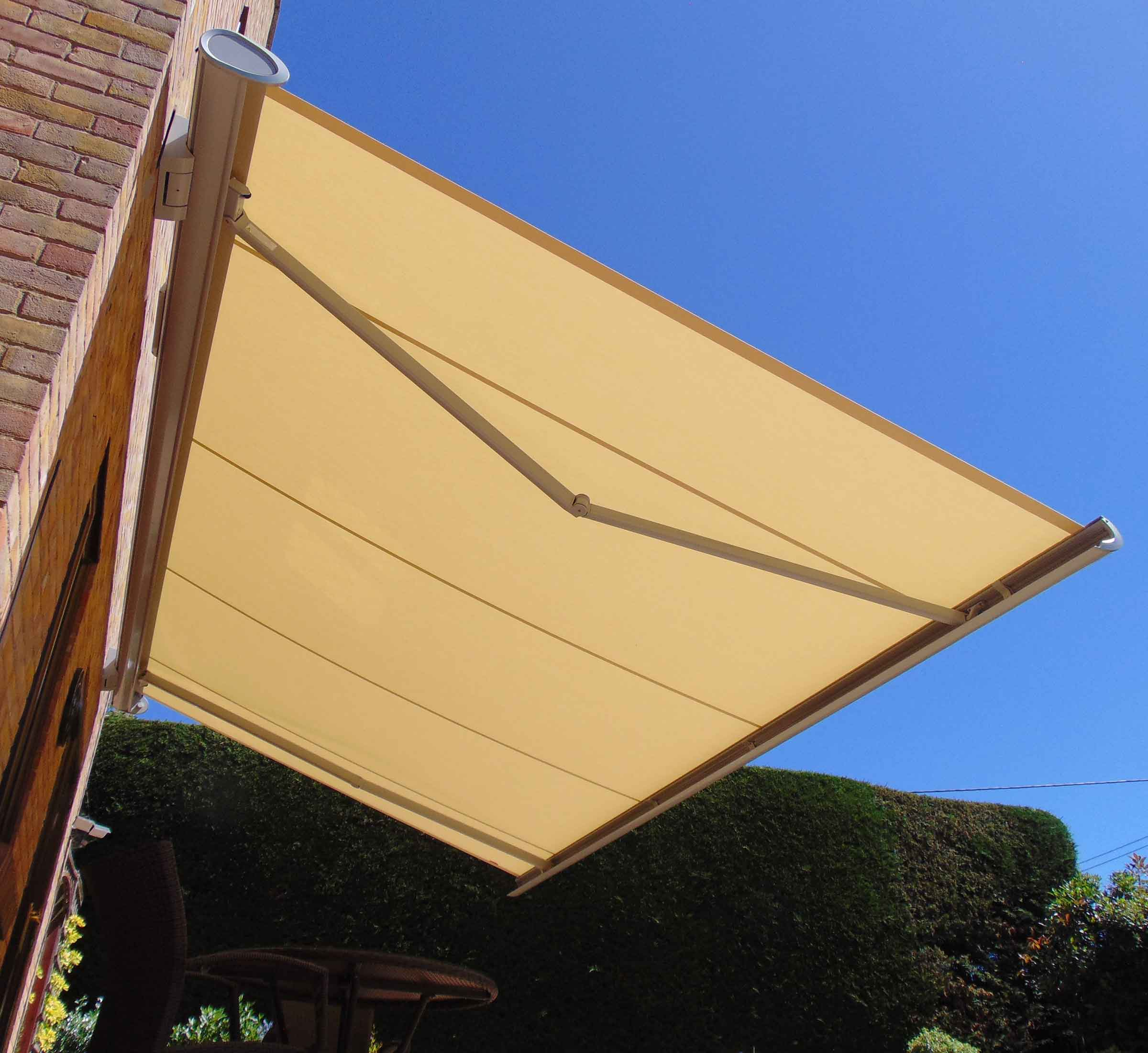 Underside view of awning