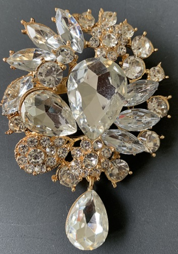 Tear drop brooches - bridal droplet brooch clear crystal on gold 75 x 50 mm