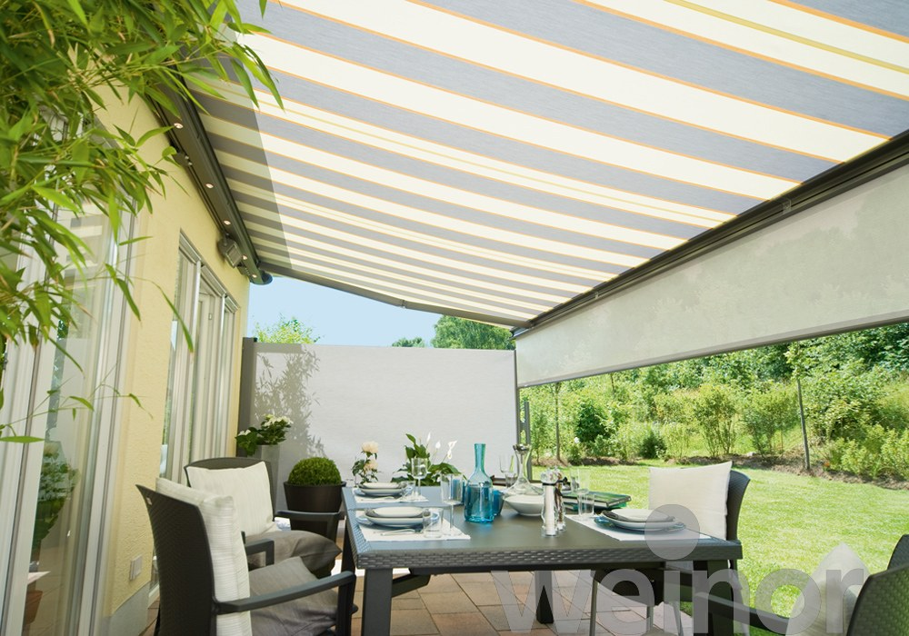 Alfresco dining under an awning