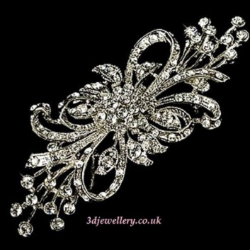 Extra large brooches -  flower spray diamante wedding sash brooch in silver 95 mm