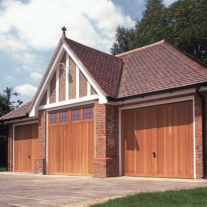 Triple timber garage door