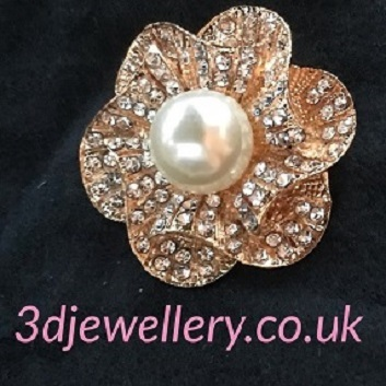Small gold brooches - floral fan pearl brooch 45 mm