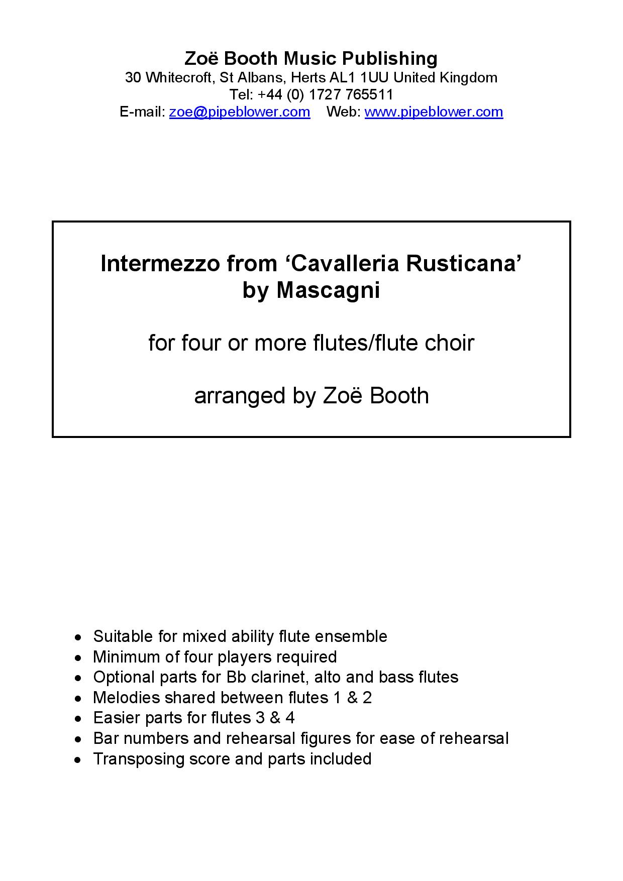 Intermezzo by Mascagni,  arranged by Zoë Booth for four or more flutes/flute choir