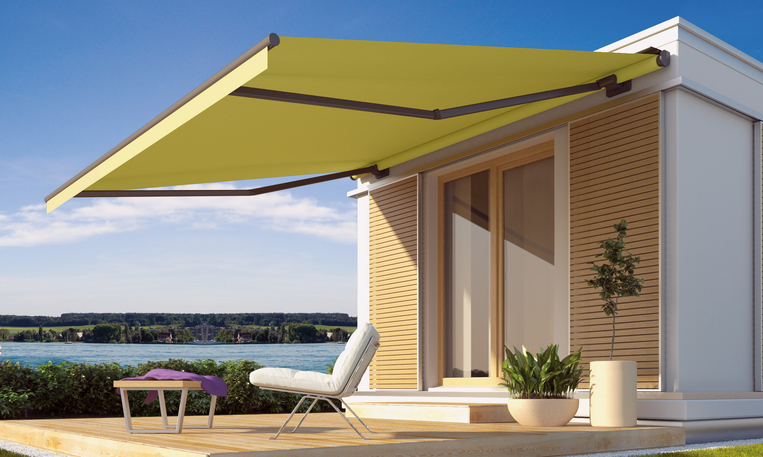 The Livona awning on a beach house