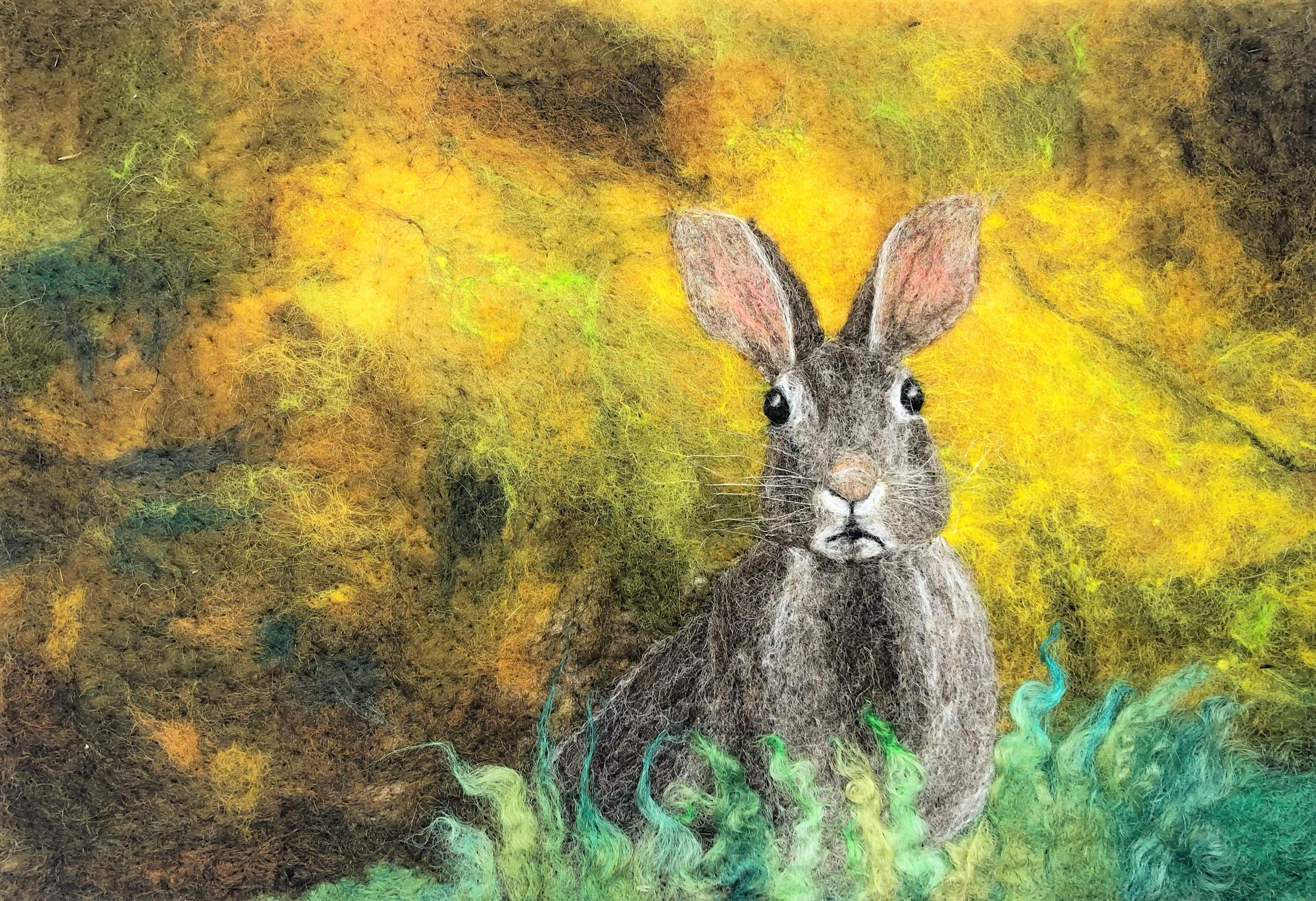 Hare on Yellow  - A4 size