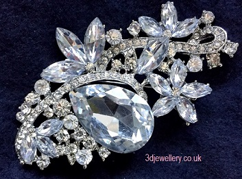 Extra large brooches - mellissa silver statement wedding brooch 80 x 45 mm
