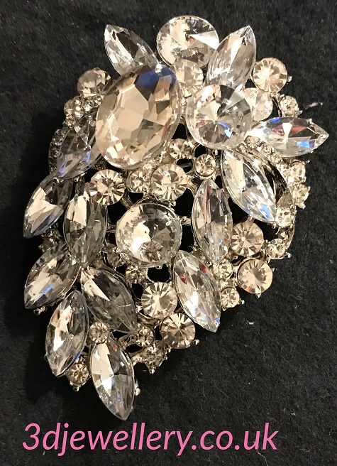 Large diamante brooches -Cascade brooch clear crystal on silver 65 x 45 mm