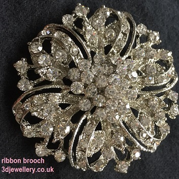 Large diamante brooches - ribbon Victorian style silver brooch 50 mm