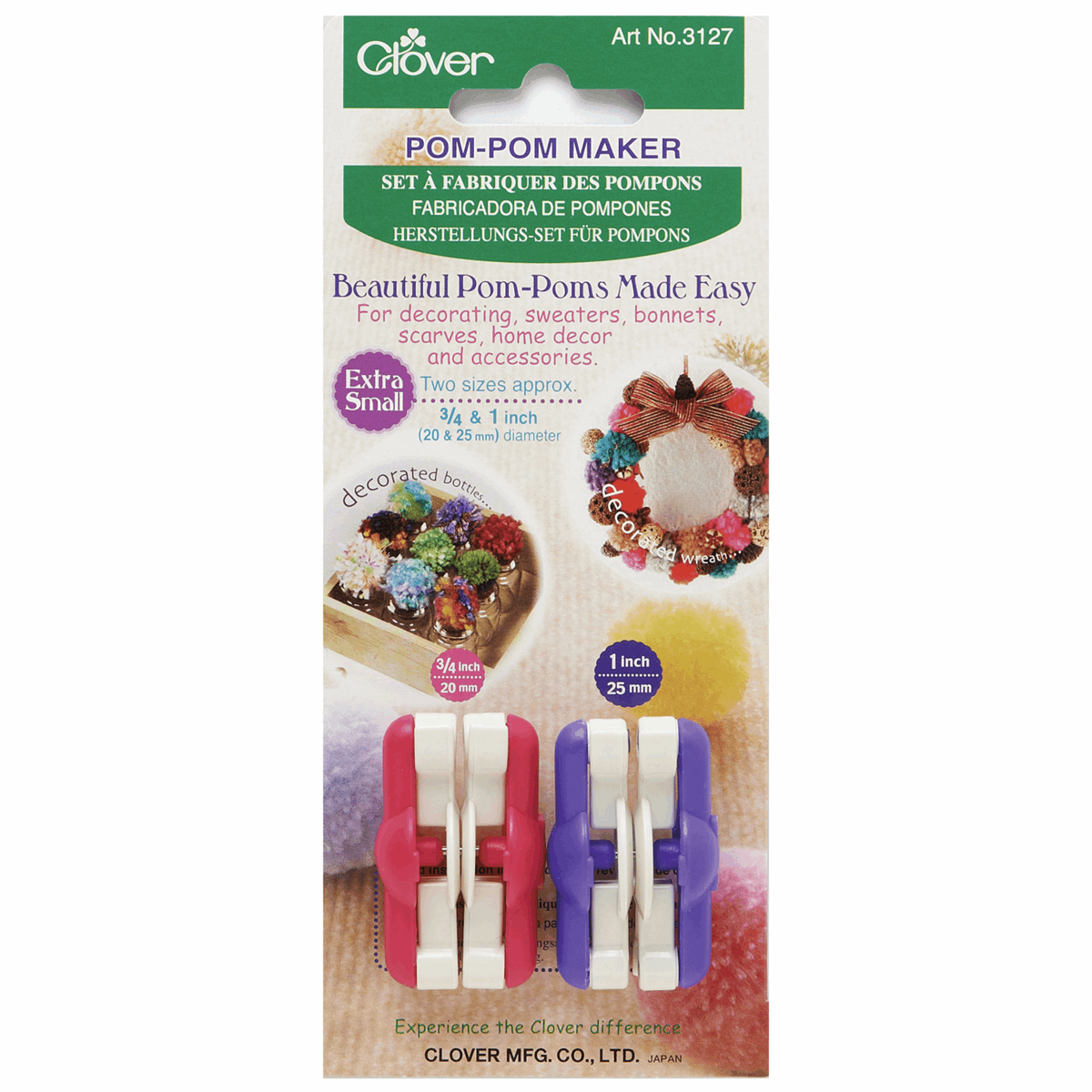 Clover Pom Pom Maker Extra Small, Set of 2