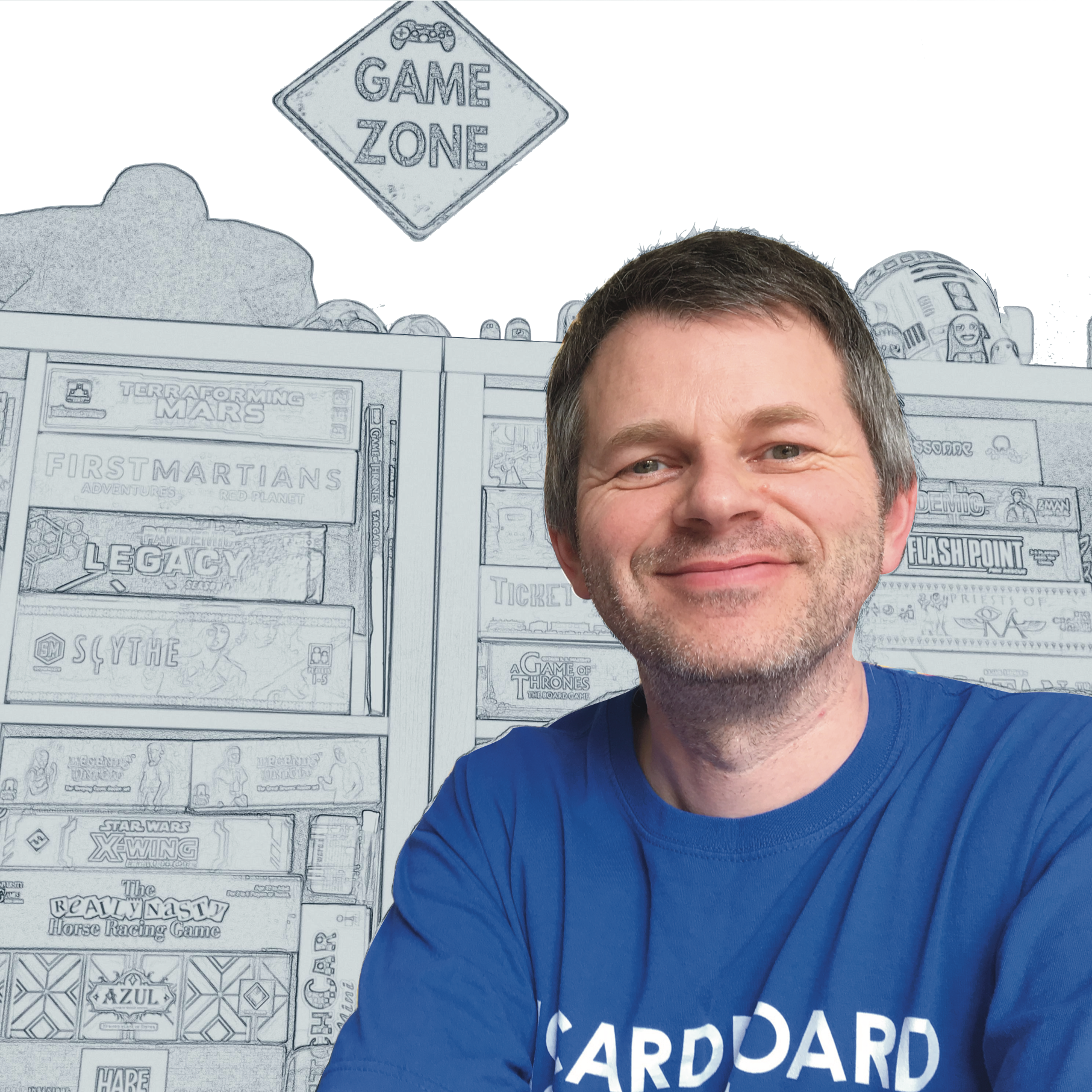 Keith McLeman of Cardboard And Coffee Games in front of a board games on shelves