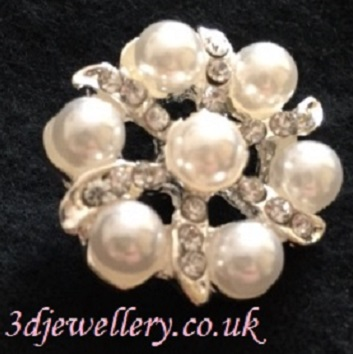 Diamante button - pearl star button 20 mm