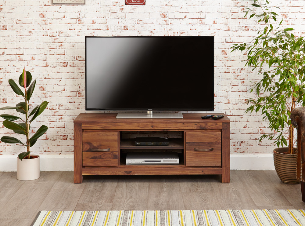 MAYAN - WALNUT LOW WIDESCREEN TELEVISION CABINET