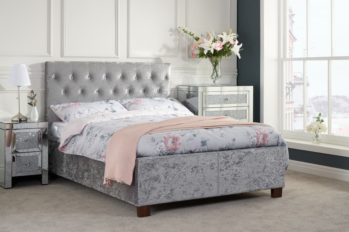 COLOGNE OTTOMAN KING BED - CRUSHED STEEL