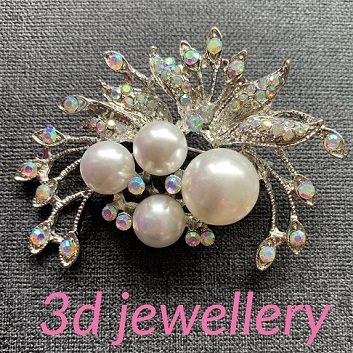 Large pearl brooches - Aurora borealis crystal and white pearl spray 60 x 40 mm