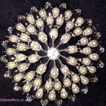 Large pearl brooches -delight round silver brooch 53mm