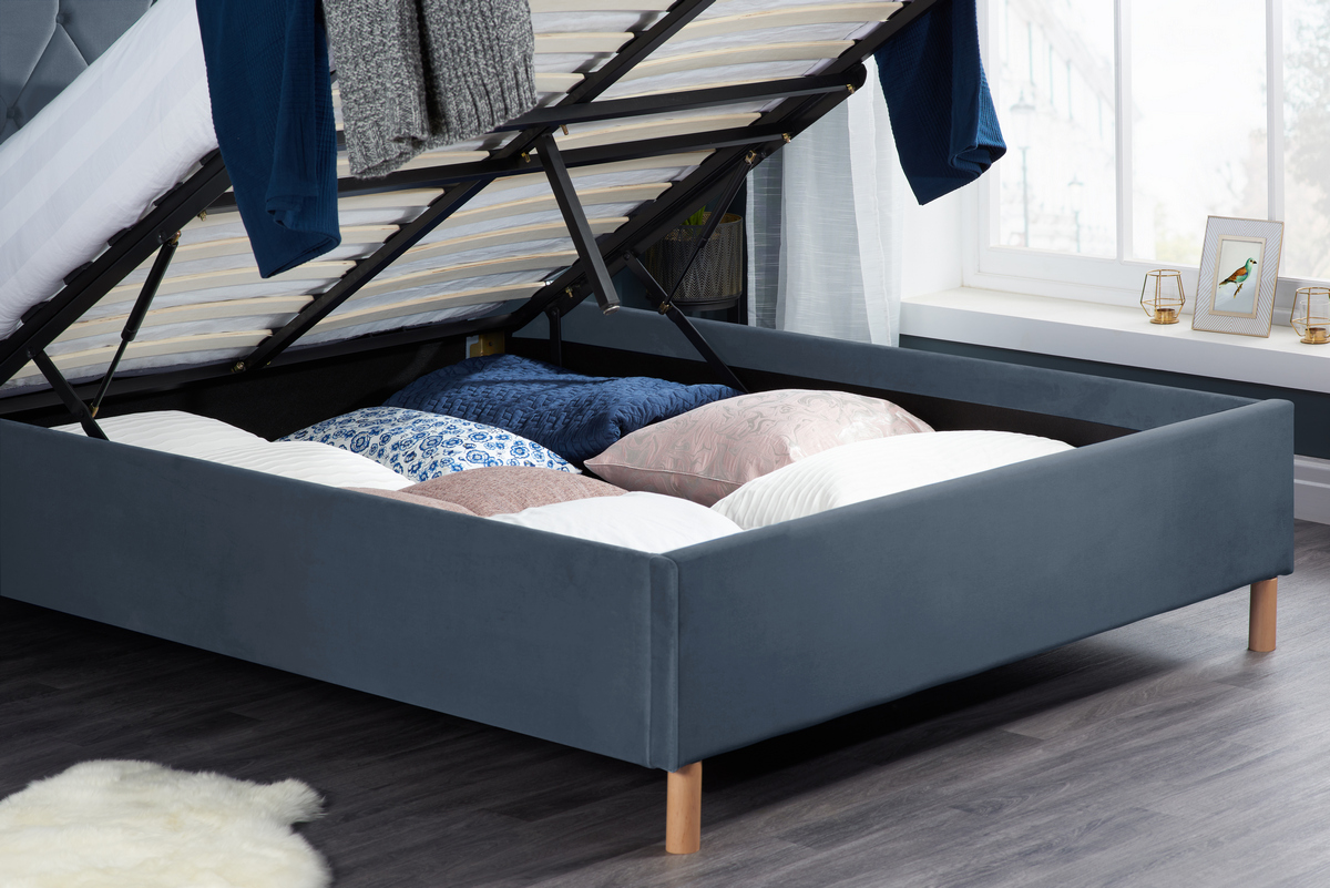 Loxley Small Double 4FT Ottoman Fabric Bed - Grey