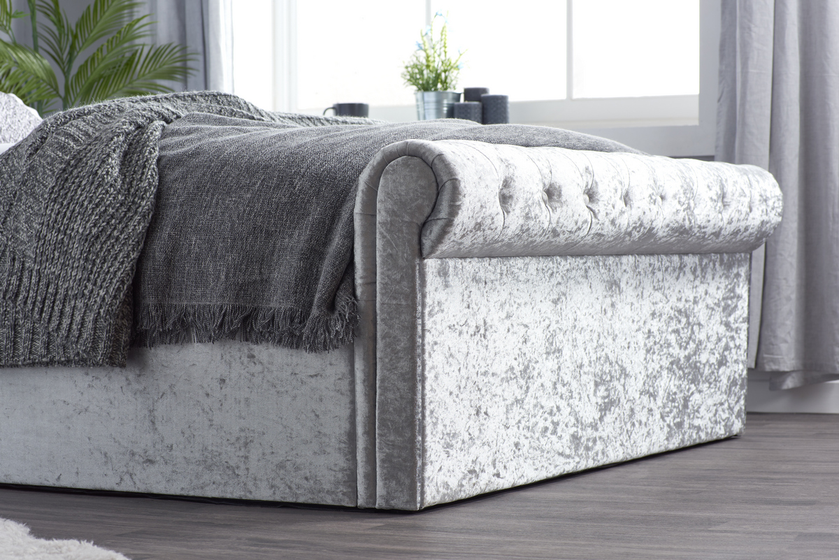 SIENNA SIDE OTTOMAN 4'6FT DOUBLE BED - STEEL CRUSHED VELVET