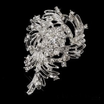 Large diamante brooches - cyclone brooch 80 x50 mm