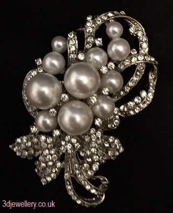 Large pearl brooches - silver floral bouquet brooch 50 x 69 mm