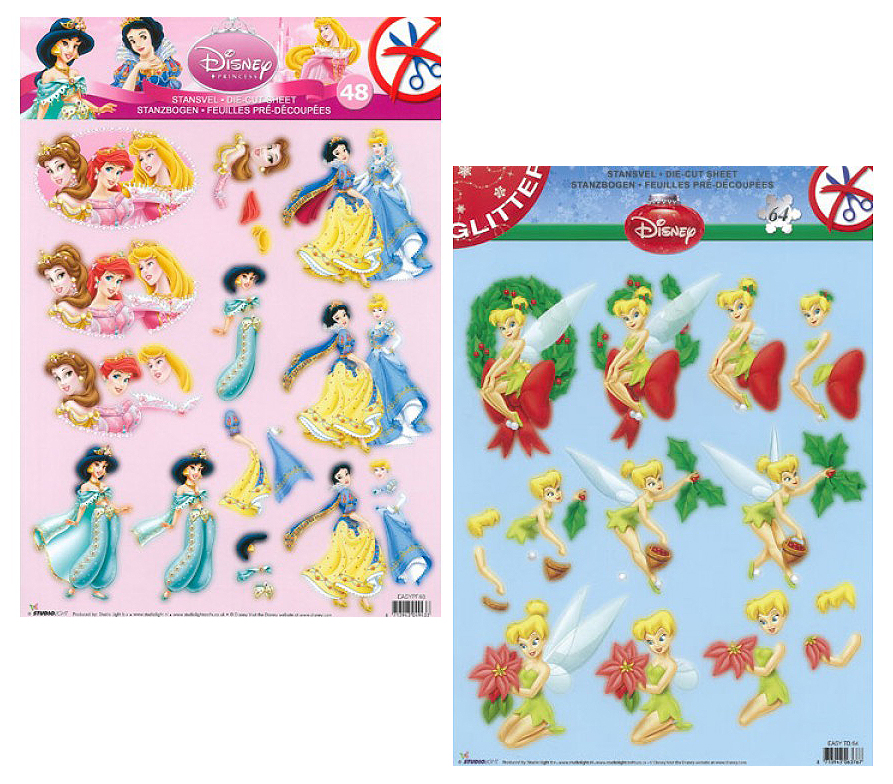 Die Cut A4 Decoupage Sheets - Christmas Glitter Princesses and Fairies