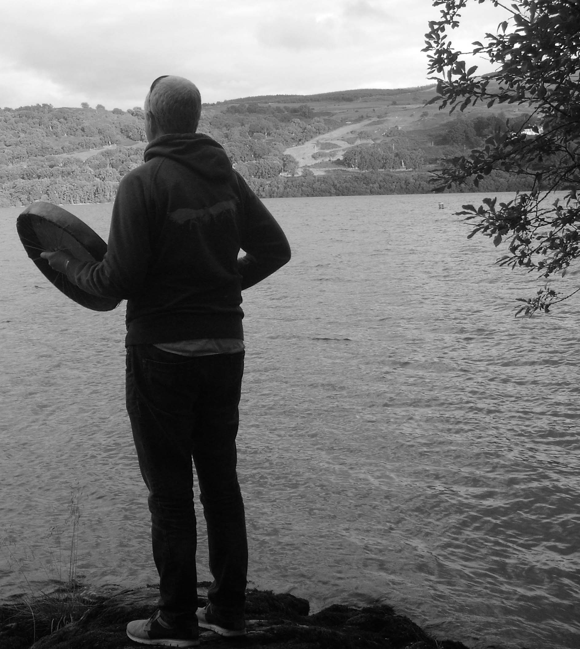 Rob drumming to call to Ceridwen at Lake Bala