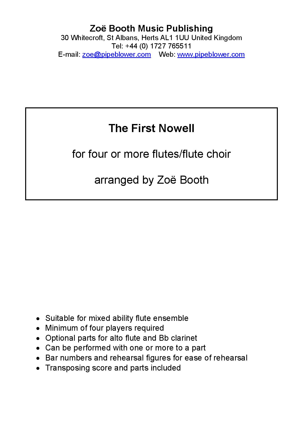 The First Nowell (Traditional),  arranged by Zoë Booth for four or more flutes/flute choir