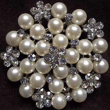 Large silver pearl brooches -  pearl and daisy brooch 48 mm