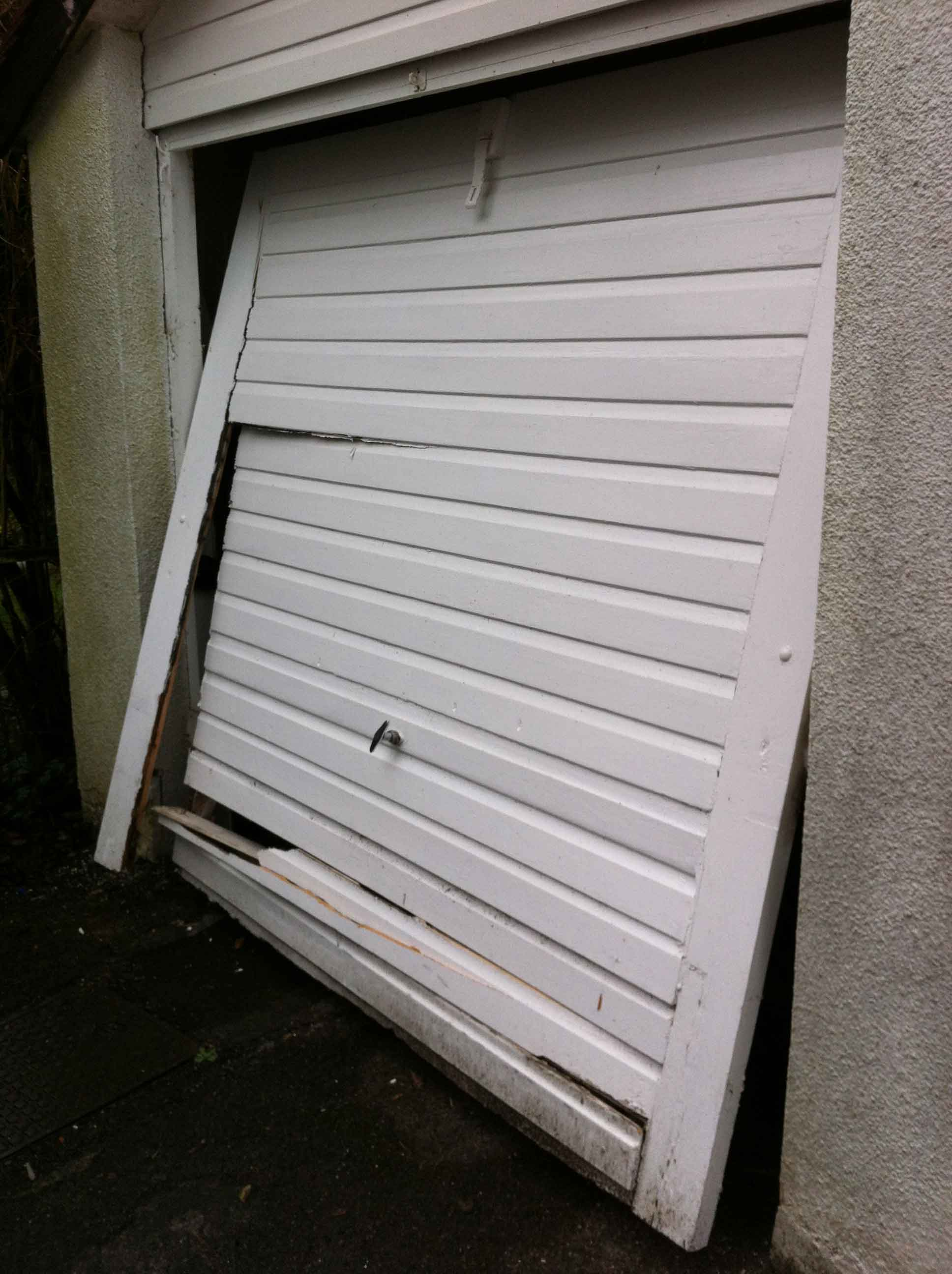 Damaged garage door