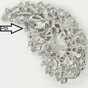 Extra large brooches - wedding dress curl silver statement brooch 110 mm