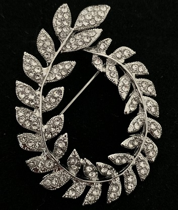 large diamante brooches- wreath of leaves silver brooch  55 mm x 45 mm