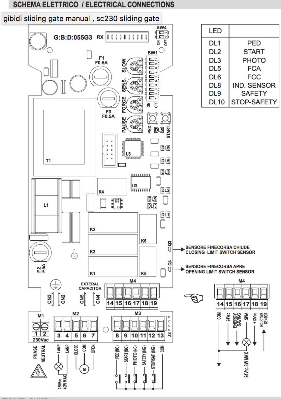 gibidi new sc230e sliding gate control replacement board