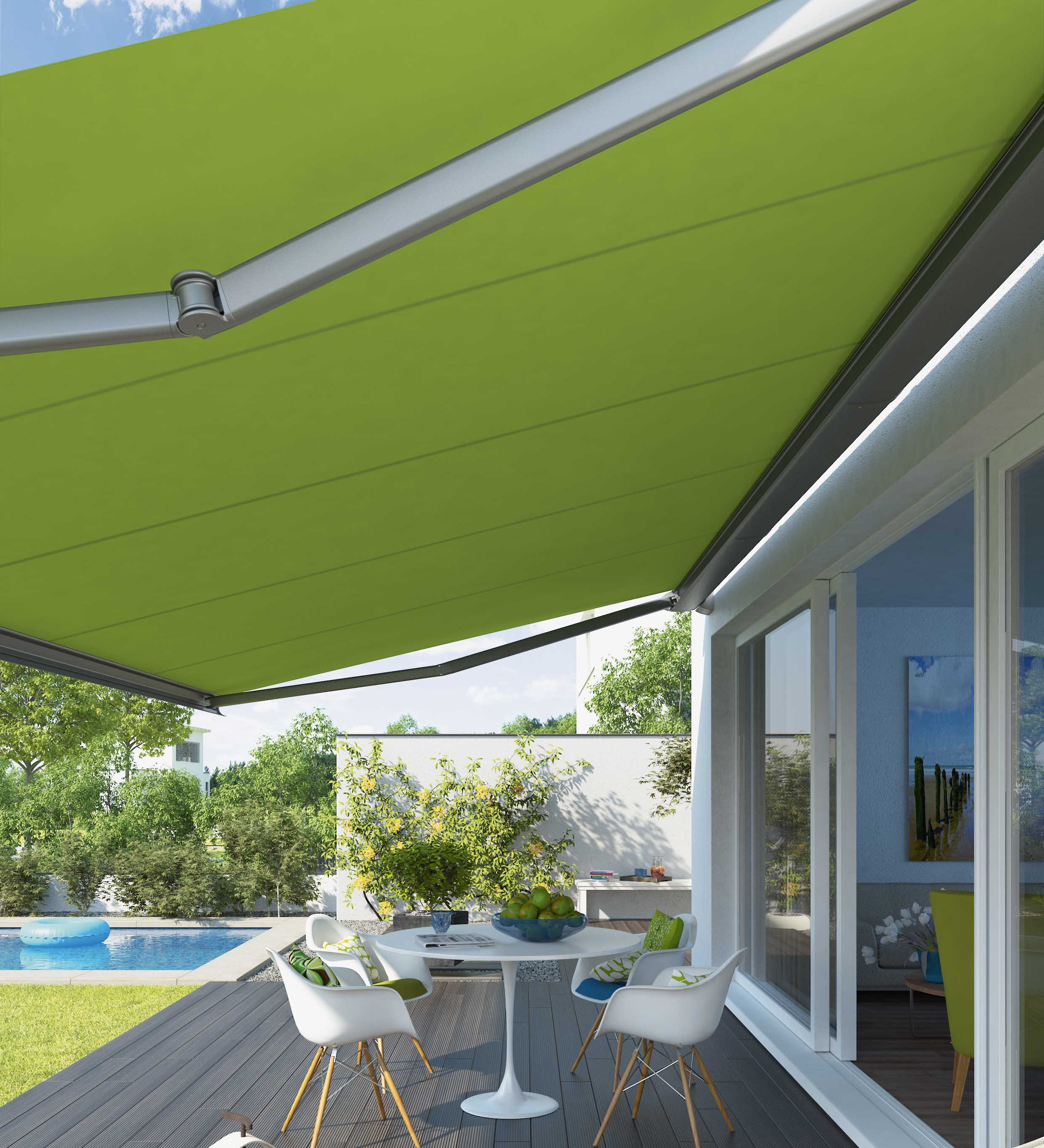 Green awning by the pool