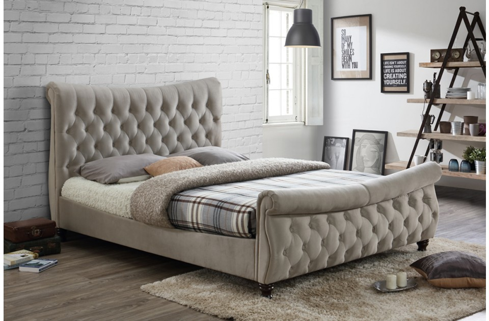COPENHAGEN SUPER KING SIZE FABRIC BED – WORM STONE