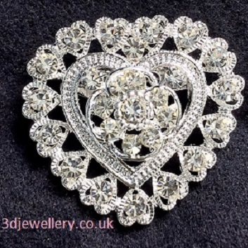 Small silver brooches - sweet sixteen heart shaped brooch 35 x 30 mm
