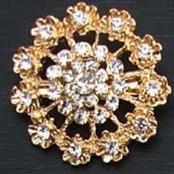 Small gold brooches - daisy chain small round brooch 35 mm