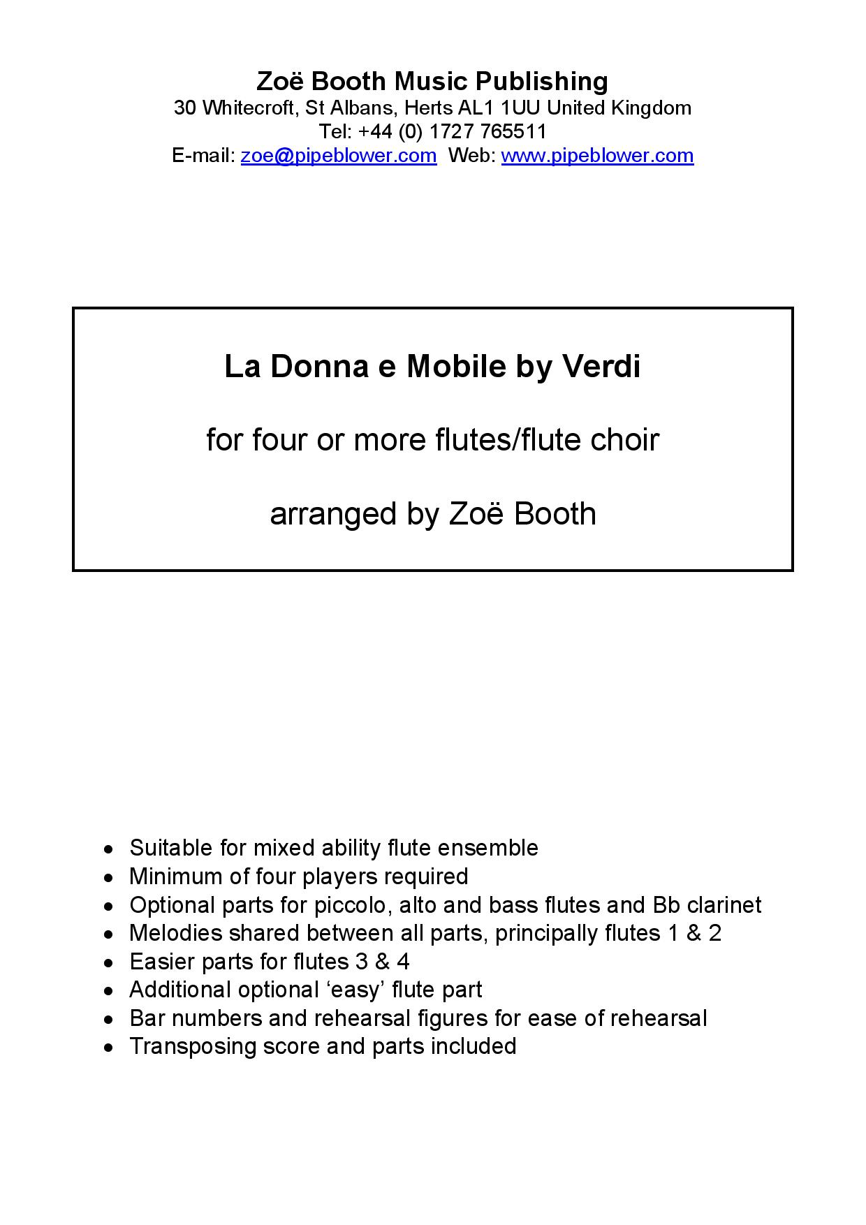 La Donna e Mobile from Rigoletto by Verdi,  arranged by Zoë Booth for four or more flutes/flute choi
