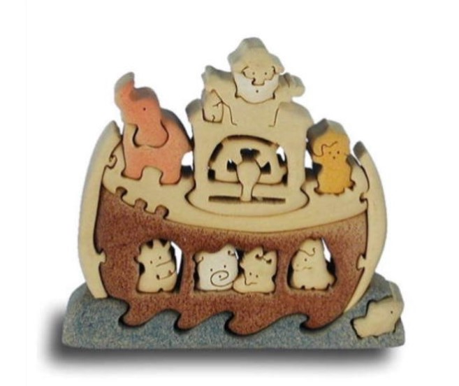 NOAH'S ARK & Animals - Handcrafted Wooden Puzzle - 25 Piece Wood Kit Playset Toy