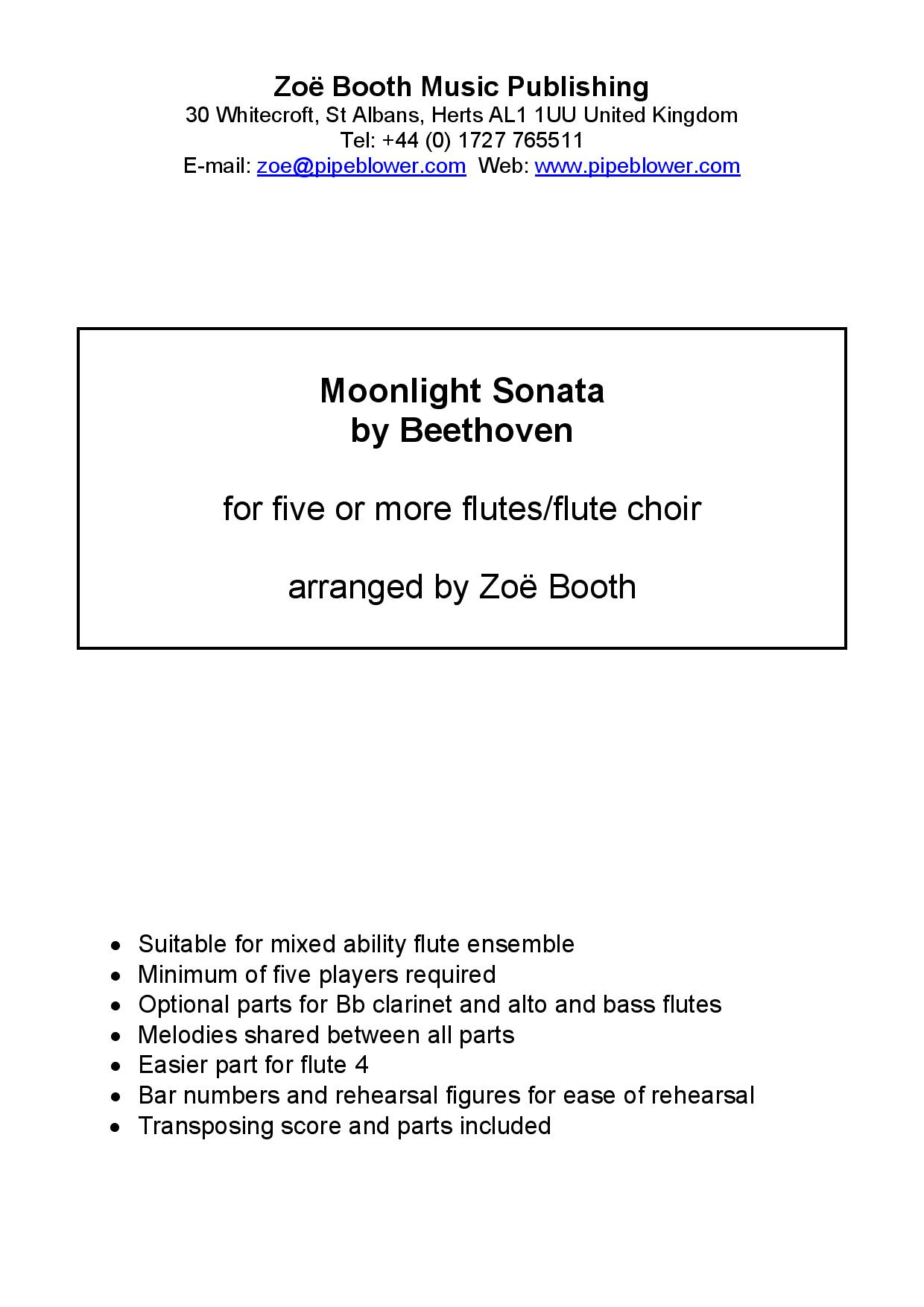 Moonlight Sonata by Beethoven,  arranged by Zoë Booth for five or more flutes/flute choir