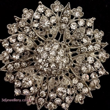 Large diamante brooches -vintage style silver flower brooch 60 mm